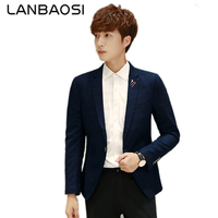 LANBAOSI Men Dress Suits 2017 New Slim Fit Blazer Jacket Mens One Button Single Breasted Suit