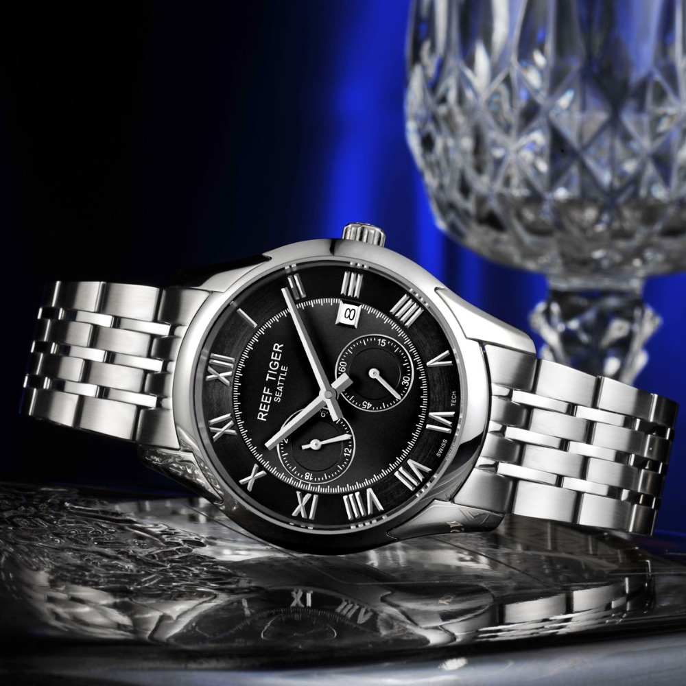 Reef Tiger / RT Uhren New Design Business Watch mit Datum Herren - Herrenuhren - Foto 4