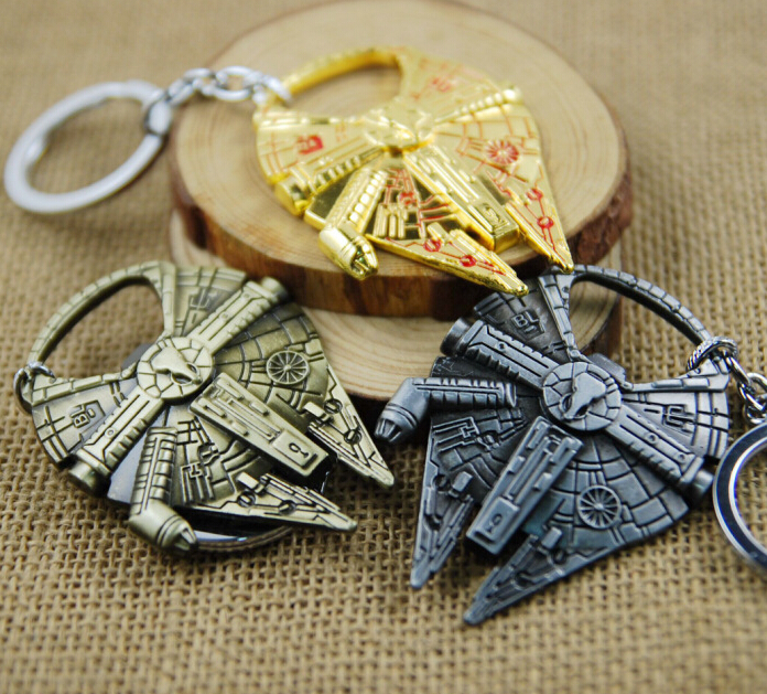 50PCS Blister Card Packing Star Wars Millennium Falcon Multi Tool Keychain Spaceship Logo Alloy Pendant Keyring Fans Movie