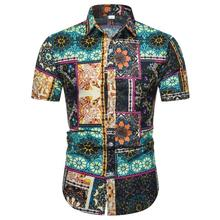 Linen Shirts Men Short sleeve National style hip hop Camisa social Casual Flower Shirt New
