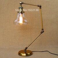 Retro Goldene Café Tisch Lampe glasschirm Vintage Schreibtisch lampe Dimmbar 40 Watt Edison birne Schlafzimmer Bar Tischleuchte Schreibtisch licht-in Tischlampen aus Licht & Beleuchtung bei