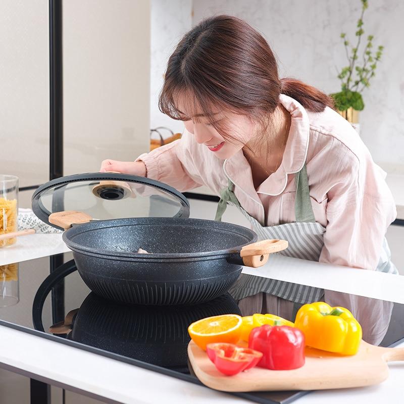 Non stick patelnia gospodarstwa domowego wielofunkcyjny z płaskim dnem kuchenka elektromagnetyczne kuchenka gazowa nadaje się do gotowania patelnia typu wok w Patelnie od Dom i ogród na  Grupa 2