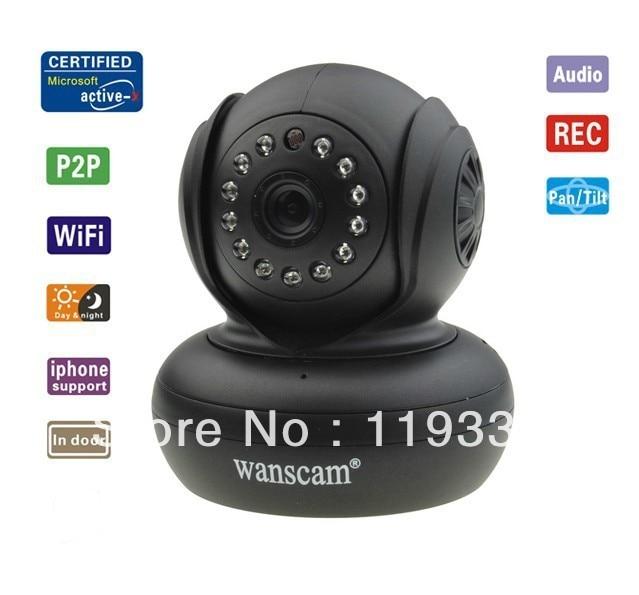 Hot Mini Dual Audio PNP Wireless Wi-Fi Black Network Webcam IP Camera Pan Tilt Speed Night Vision IR Dome Security Surveillance