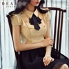 Dabuwawa Short Sleeved Shirt Female 2017 Summer New Korean Temperament OL Slim Casual Bow Tie Blouse