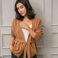 European station autumn new cashmere knit cardigan women's sweater fashion coat lazy wind with knitted sweater loose open