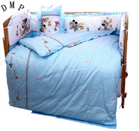 Promotion! 7pcs Cartoon Baby Baby Boy Bedding Set Embroidery Quilt Nursery Cot Crib Bedding (bumper+duvet+matress+pillow)