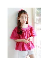 Kids Girls Blouse Fashion Shirts Clothes Children Cotton Ruffle Clothes Short Sleeves Plaid Blouses For 4