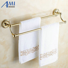 Настенные Золотой полированной для ванной Аксессуары Полотенца бар