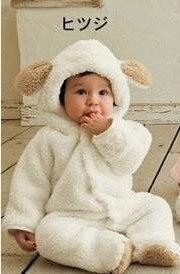 1 комплект, классический детский комбинезон с накидкой для зимы, комбинезон с длинными рукавами, детская одежда, комбинезон для малышей, одежда с рисунком медведя, кролика, поросенка, 3 цвета - Цвет: white sheep