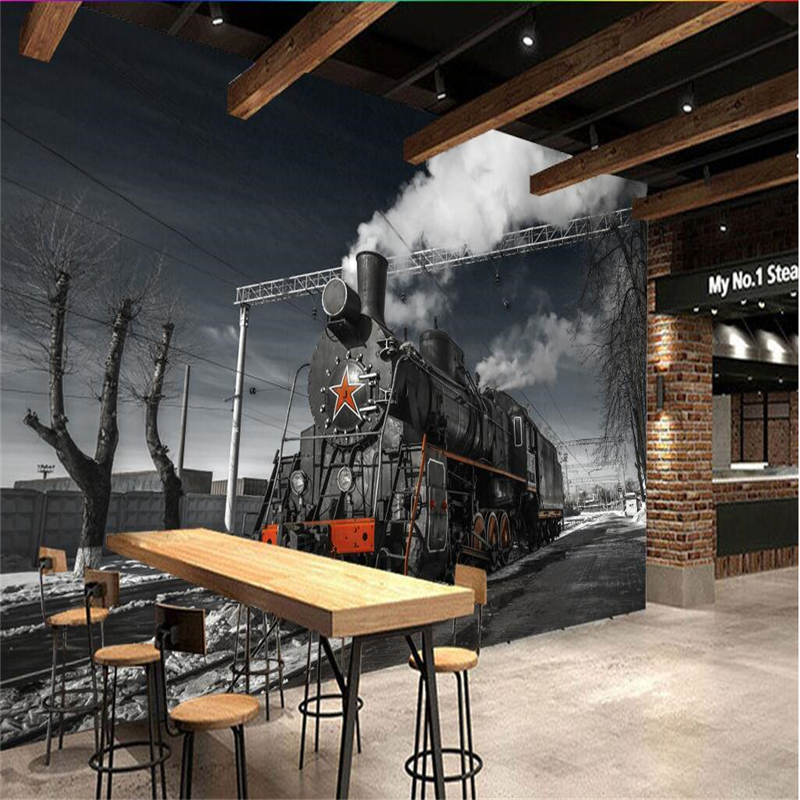Beibehang Large Custom Wallpapers Mural Retro Tale Black And White Steam Train Cafe Bar Mural Background Wall Papel De Parede