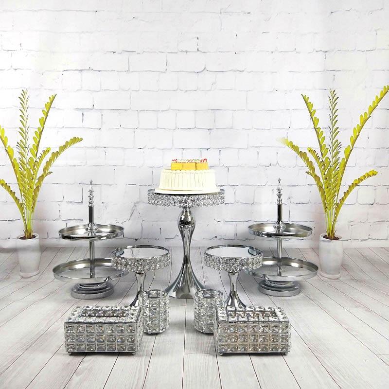 7-10 pièces/set miroir gâteau stand fruits plaque métal dessert plaque gâteau table couleur argent