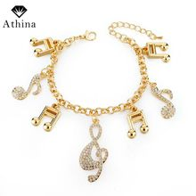 Athina Fashion Ethnic Charm Bracelets For Women Gold Color Bracelets&Bangl with Crystal Musical Note Pendant Vintage Jewelry