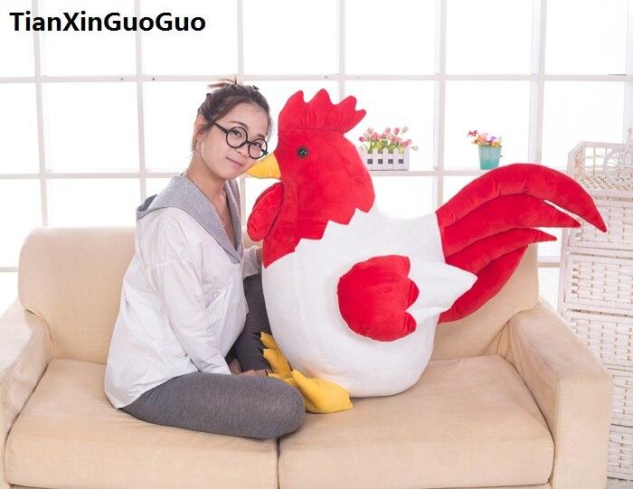 stuffed plush toy large 75cm lovely cartoon chick cock plush toy white&red cock soft doll hugging pillow birthday gift s0833 светоотражатель lastolite 75cm sunfire white ll lr3006