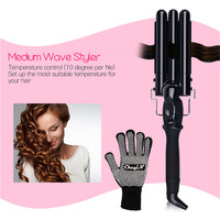 3 size LCD Ceramic Triple Barrels Deep Wave Crimper Hair Curler Waver Electric Curling Iron Salon Anion Curls Hair Styler Tool42