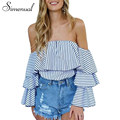 Simenual Cascading ruffle off shoulder tops pinstripe female blouse shirt 2017 sexy hot fashion blouses shirts women's clothing