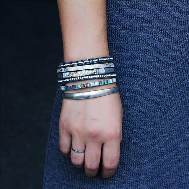 janeyacy 2018 богемный жемчужный кожаный браслет с кристаллами фотография