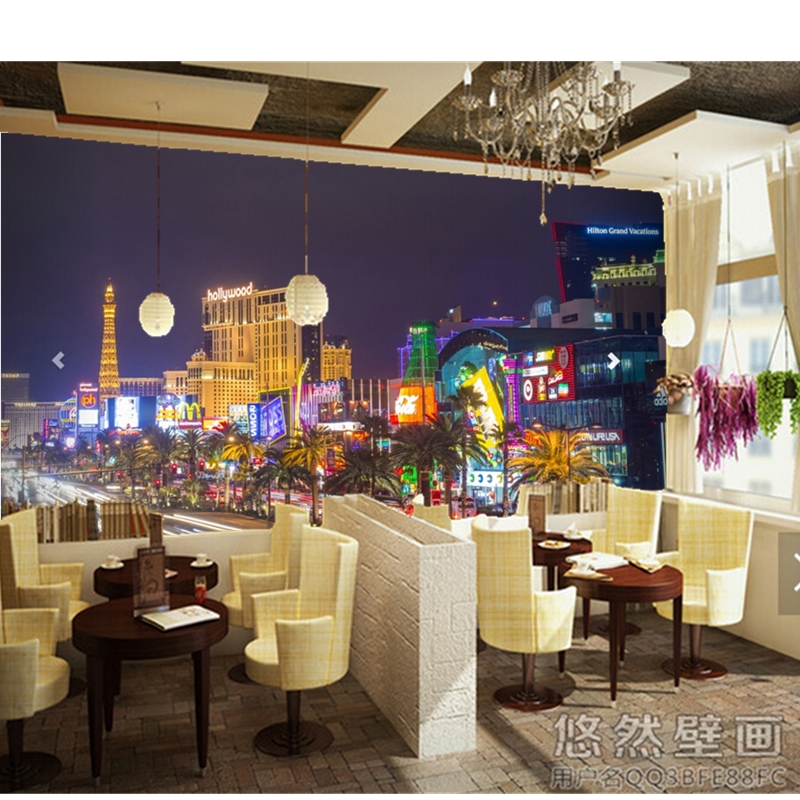 Custom photo Wall paper, 3d Busy Las Vegas Strip Wall Mural for the living room bedroom TV Wall PVC wallpaper papel de parede factory direct high quickly mural wallpaper bamboo mat pvc wall paper papel de parede wholesale price free shipping