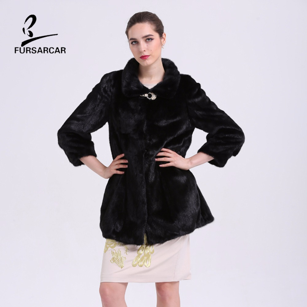FURSARCAR Mewah Nyata Mink Fur Coats Berdiri Collar Hitam Natural Fur - Pakaian Wanita - Foto 1