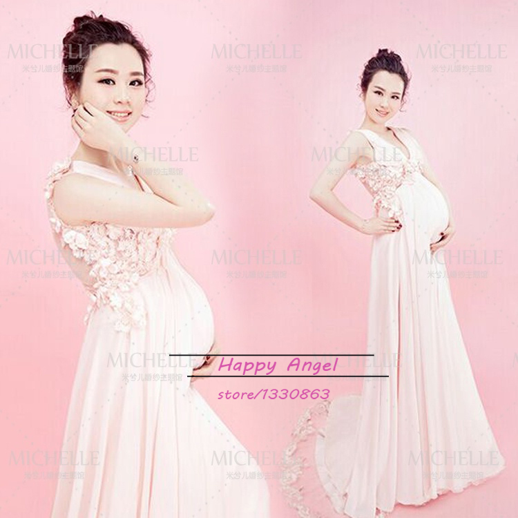 Maternity Photography Props Women Noble Long white Cute Elegant Dress Romantic Photo Sho ...