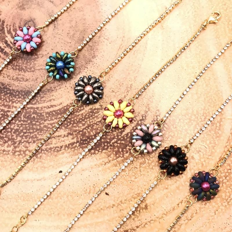 FAIRYWOO Woman Cute Flower Jewelry Miyuki Beaded Bracelets Charm Sweet Woman Handmade Dangle Bracelet Ins Hot Sale Accessories in Charm Bracelets from Jewelry Accessories