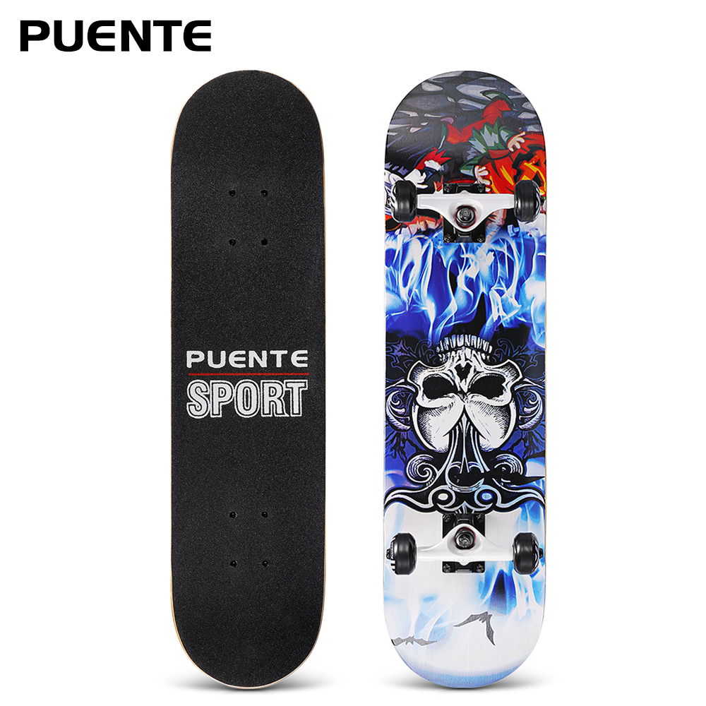 PUENTE 31-Inch U-Shaped Transverse Skateboard 7-Layer Maple Wood Deck Skate Board With T-Shape Tool For Kids Adults Beginners