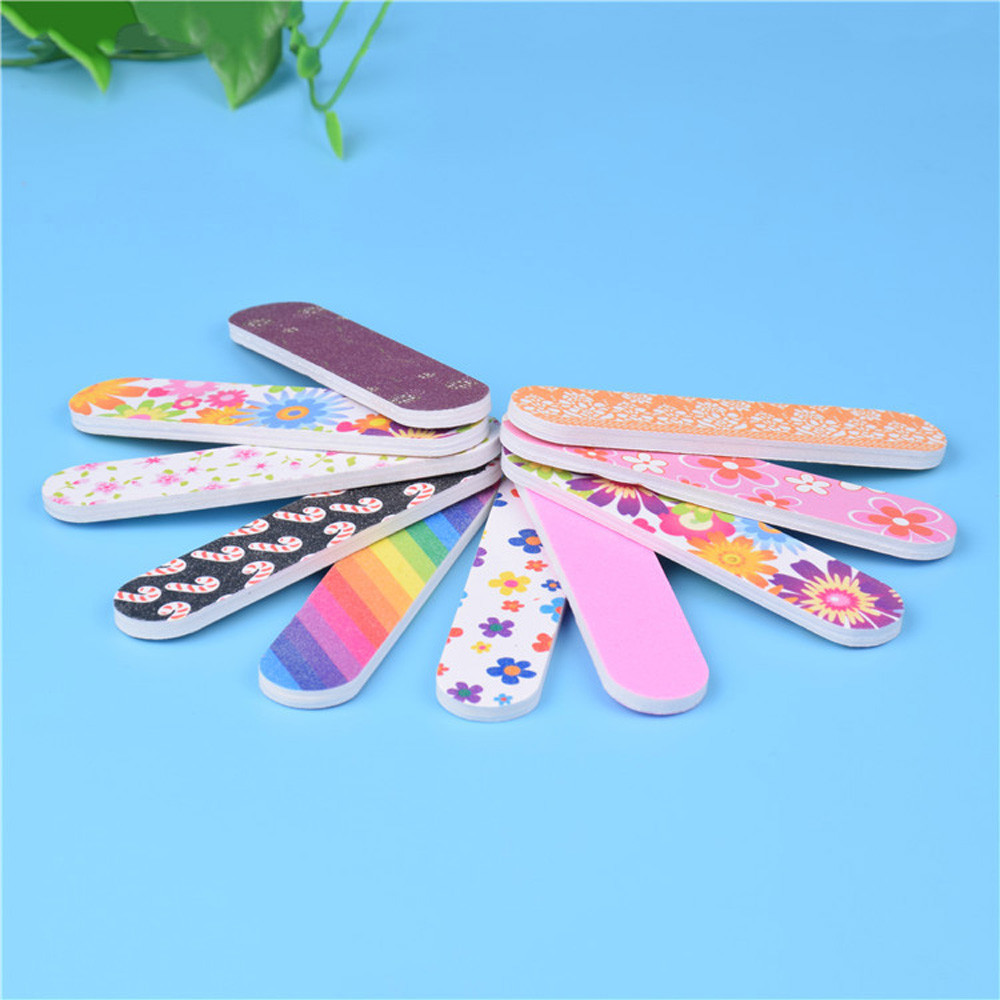 Hot sale 12PCS Tool Art Nail File Grind Sand Block Double Sided Printing Polished Strip Premium Full Function Nails Tool 30pNo17