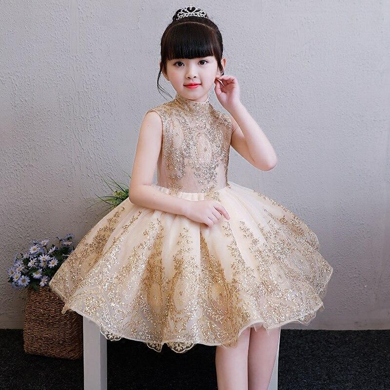 Children Girls Elegant Sweet Golden Color Birthday Evening Party Ball Gown Dress Baby Girls Formal Dance Host Costume Dress 3~13