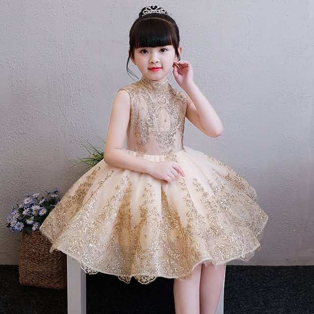 Children Girls Elegant Sweet Golden Color Birthday Evening Party