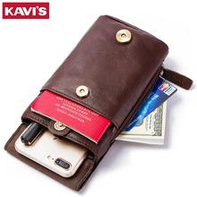 100% Genuine Leather Phone Holder men wallet Waist package Dadbag Organizer Travel package Small Mini money Bag for male(China)