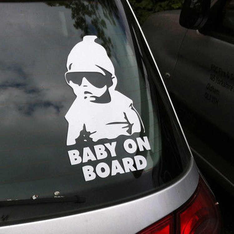 """ブラック/ホワイト """"Baby on Board"""" 安全看板車のステッカー反射サングラス子車のステッカー警告ステッカー 15 × 9 センチメートル"""