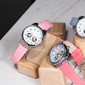 Image 5 - KDM ガール腕時計子供かわいい目ダイヤモンド防水本革腕時計素敵な子供子供たちは、学生時計