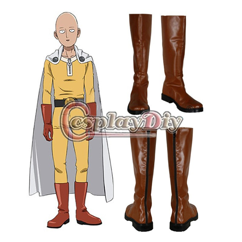 Cosplaydiy One Punch homme Saitama Caped Baldy Hagemanto Cosplay bottes Orange Version Cosplay chaussures sur mesure