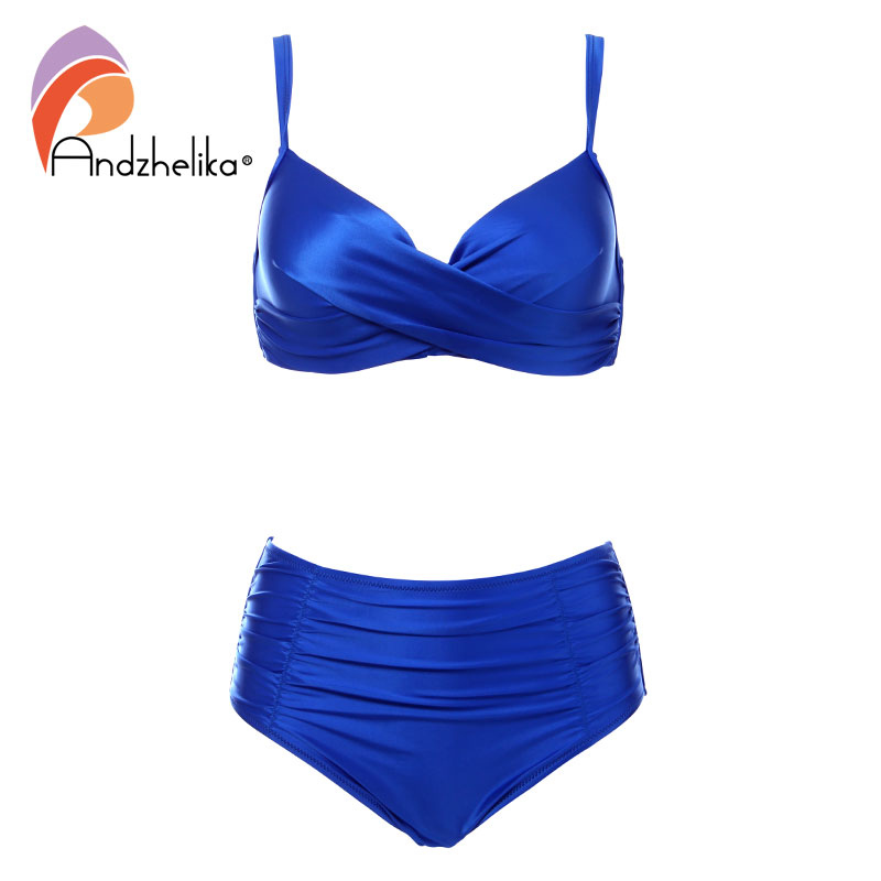 Andzhelika High Waist Bikinis Women Swimwear Summer Solid color high-grade fabric bikini Set Plus Size Swimwear Bathing Suit 1