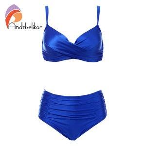 Image 2 - Andzhelika Cao Cấp Bikini Đồ Bơi Nữ Mùa Hè màu Trơn chất liệu vải cao cấp Bikini Bộ Plus Kích Thước Đồ Bơi Áo Tắm
