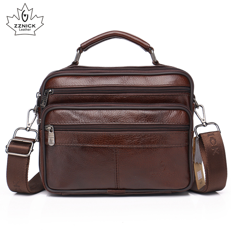 Men Genuine Leather Shoulder Bag 2019 Fashion Zipper Shoulder Messenger Bag Leather Men  Travel Business Simple Handbag ZZNICK