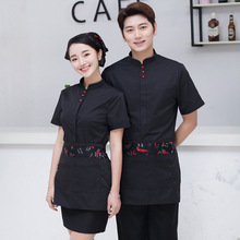 Hot Sale Restaurant Waitress Waiter Uniforms Hotel Cook Clothing Short Sleeve Food Service Workwear Men Women Free Shipping