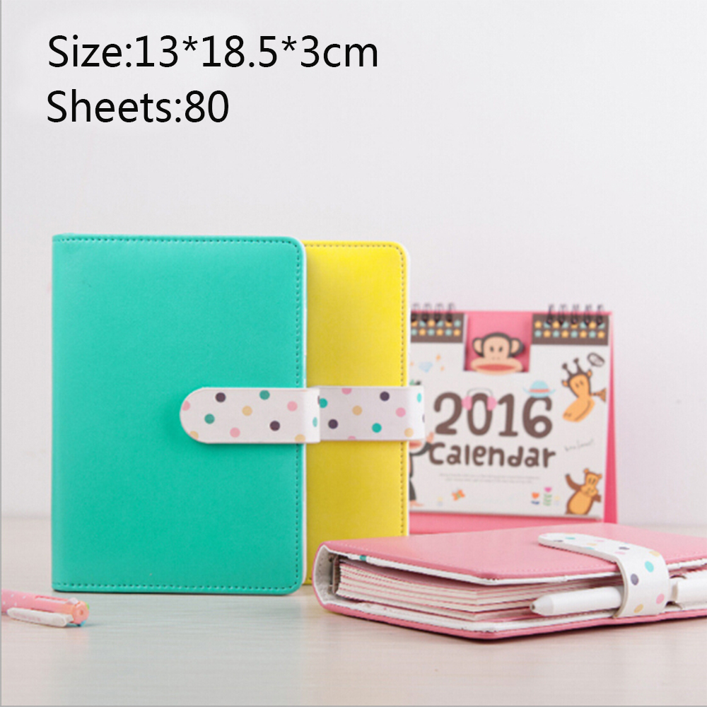 Korean Fresh Creative PU Leather Girly Spiral Notebook Candy Colored Diario Memos Planners Cute Binder Daily Planner Organizer