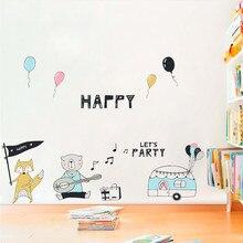 Dropshipping Cartoon Wall Sticker Animal Music Birthday Party Theme Wa