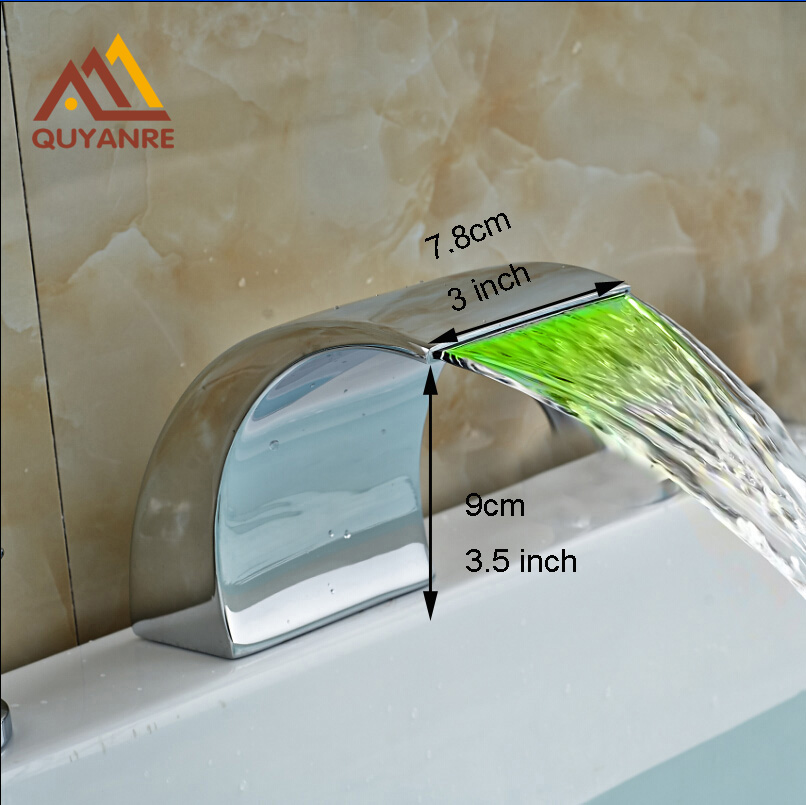 Chrome Deck Mounted Waterfall Spout LED Light Bathroom Faucet Spout Freee Shipping