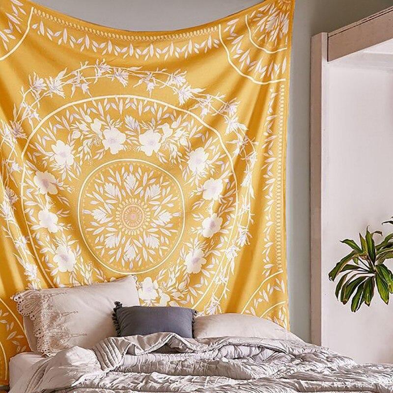 Indian Mandala Tapestry Tai Chi Wall Hanging Tapestries Hippie Bohemian Black Brown Decorative Wall Carpet Yoga Mats