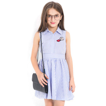 2018 Teen Girls summer dresses Sleeveless children princess dress Red Lips Fashion striped dresses for girls 5 6 8 10 12 15 year