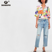 ROHOPO Women Fruit Blouse Summer Short Sleeve Crop Printed Holidways Tie Dyed Top Shirt 2019 Cartoon Casual Blouse #XZ2005 bat wing sleeve loose tie dyed blouse