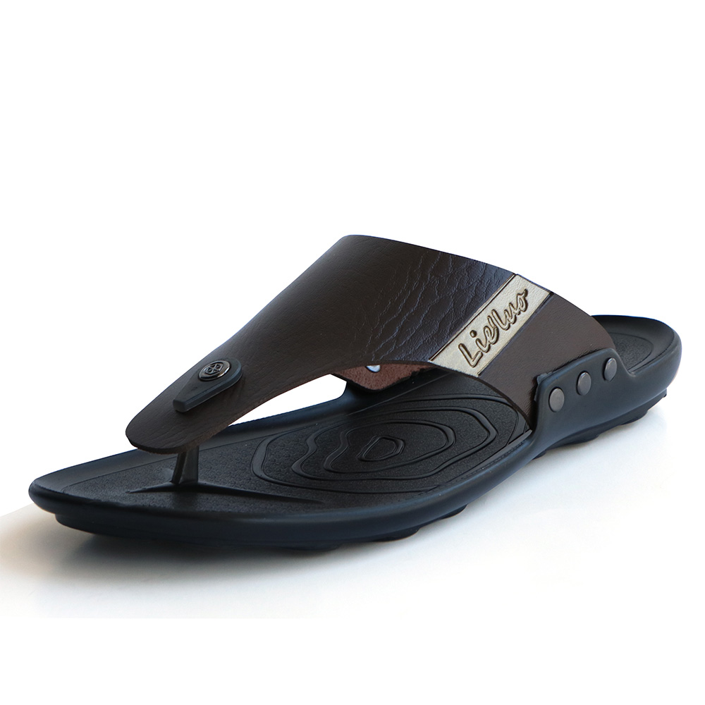Men Sandals PU Leather Beach Shoes For Male Outdoor Casual Flip Flops Fashion Non-slip Resistant