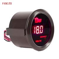 Car Universal 2 52mm Black Shell Digital Red LED Volt Voltage Gauge V Free Shipping
