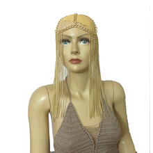 Wholesale Women Silver Gold Long Tassel Aluminium Head Chains Hair Accessories Layers Harness Body Jewelry Headdress