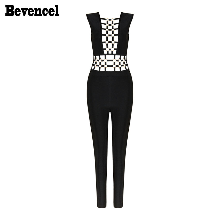 New Arrival 2017 Women Jumpsuit Sexy Sleeveless O Neck Sequined Hollow Out Chic Celebrity Party Bandage Jumpsuits