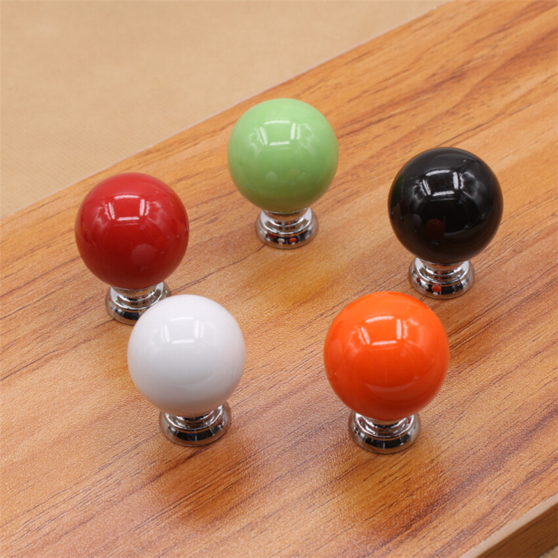 Knobs and handles for furniture Brushed Nickel 10pcs Ceramic Ball Door Knobs Handles Furniture Cabinet Cupboard Wardrobe Drawer Handle Pull Black White Orange Green Red Seslichatonlineclub 10pcs Ceramic Ball Door Knobs Handles Furniture Cabinet Cupboard