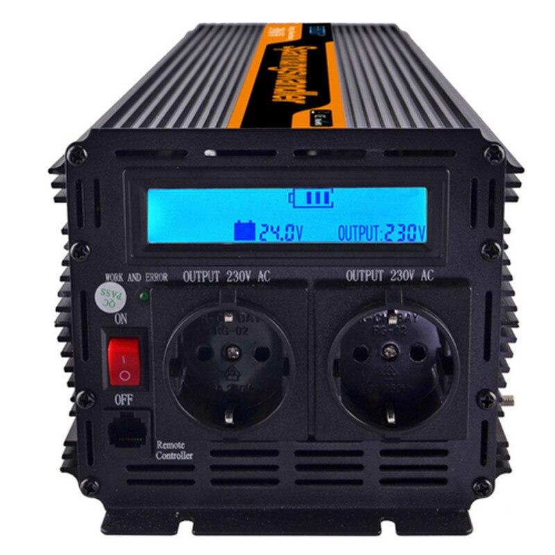 EDECOA 3000 Вт ac dc преобразователь 24 В до 230 В/220 В Солнечный Мощность инвертор camper ЖК дисплей Дисплей преобразователь вне сети Бесплатная доставк
