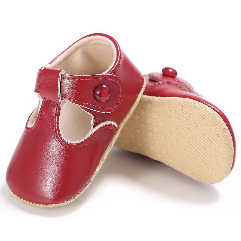 New Spring Infant Baby Boys Girls PU Solid Color Sweet Princess Soft Sole Toddler Kids Cack First Walkers Shoes