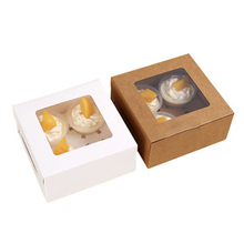 10PCS Wedding Party Cupcake Boxes Pastry and Cookie Box, Containers Carriers Bakery Birthday Window Transparent Cake Box